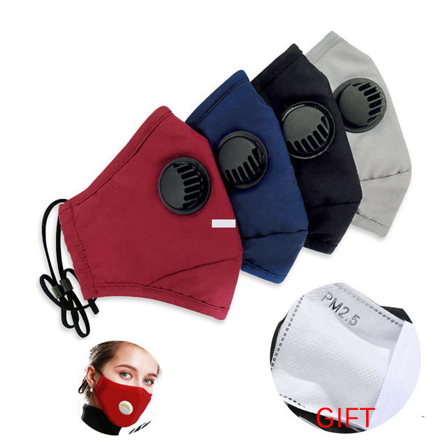 Mouth Mask Cotton PM2.5 Anti Dust Mask Activated carbon filter Windproof Mouth-muffle Bacteria Proof Flu Face Masks Free Gasket