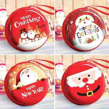 Round Christmas Coin Purse Cute Cartoon Creative Children's Small Purse 4 Styles Headphone Collection Pocket Dropshipping image