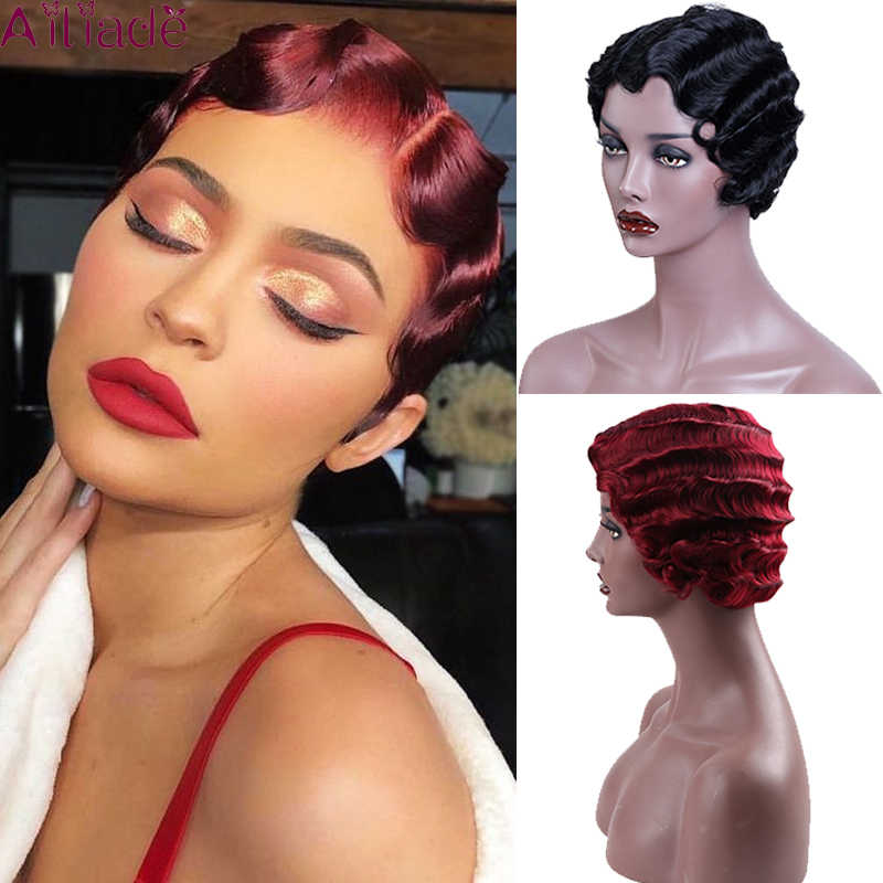 Ailiade Rood Kort Krullend Pruiken Voor Afro-amerikaanse Vrouwen Zwarte Vinger Golven Pruik Synthetische Blond Haar Pruik Niet Remy Cosplay pruiken
