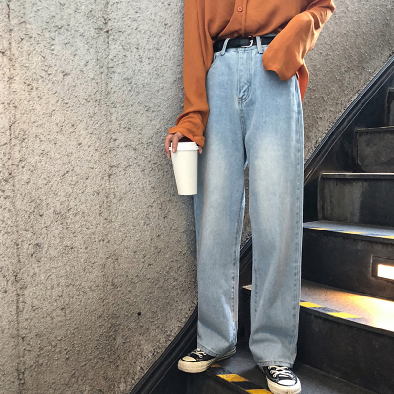 Jeans Women Leisure Loose High Waist Retro Wide Leg Womens Jean Korean Style All-match Simple Full-length Trendy Chic Zipper Fly