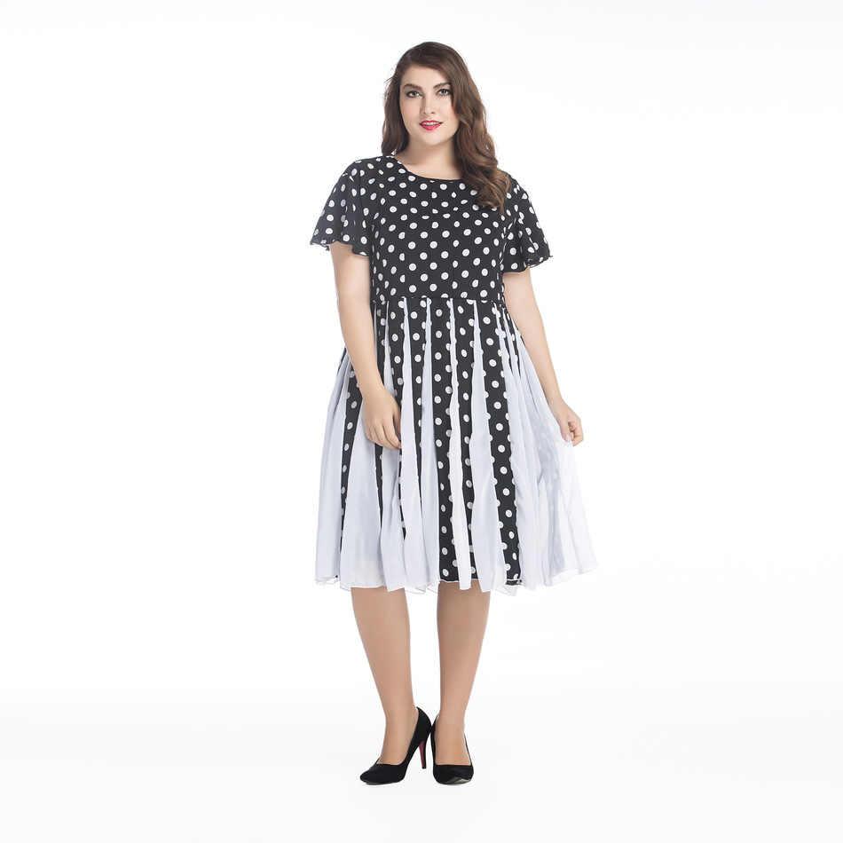 Модная женская летняя элегантная винтажная пляжная шифоновая Одежда богемные вечерние платья в черный горошек большие размеры 5XL 6XL Vestidos de festa