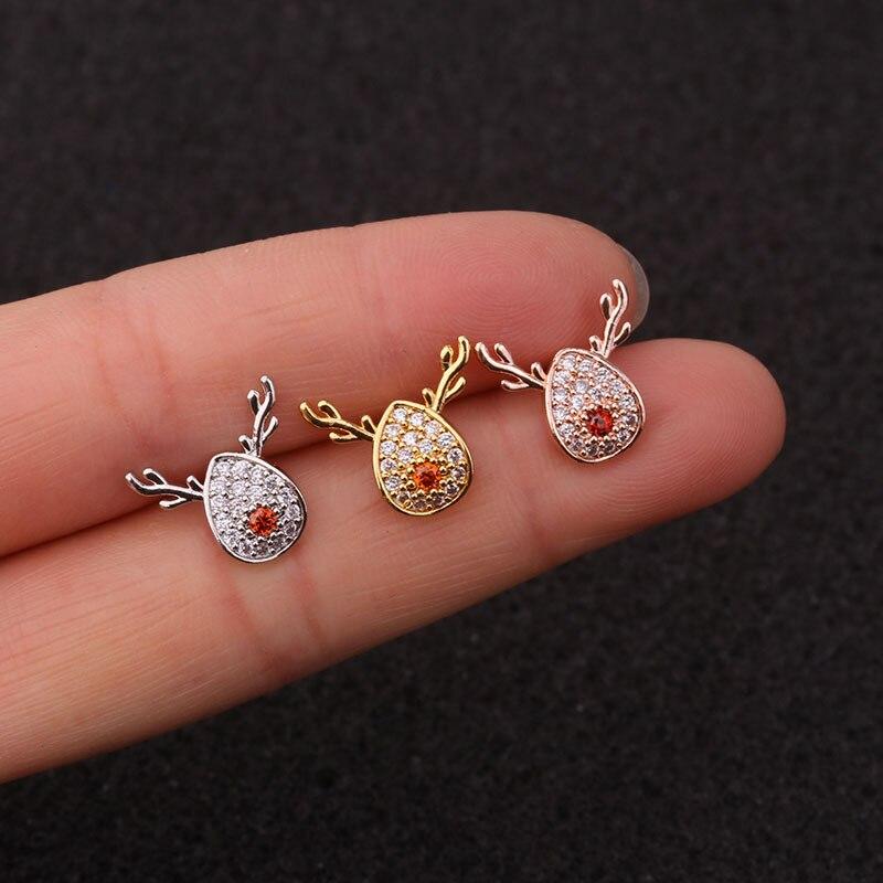 1pc Flower Elk Rose Gold Color Cz Ear Studs Helix Piercing Cartilage Earring Conch Rook Tragus Stud Ear Piercing Jewelry