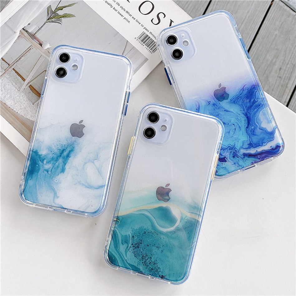 Marble Phone Case For Apple iPhone 11 Pro XS Max SE 2020 12 7 8 Plus X XS XR Case Transparent Color Full Protective Clear Cover(China)