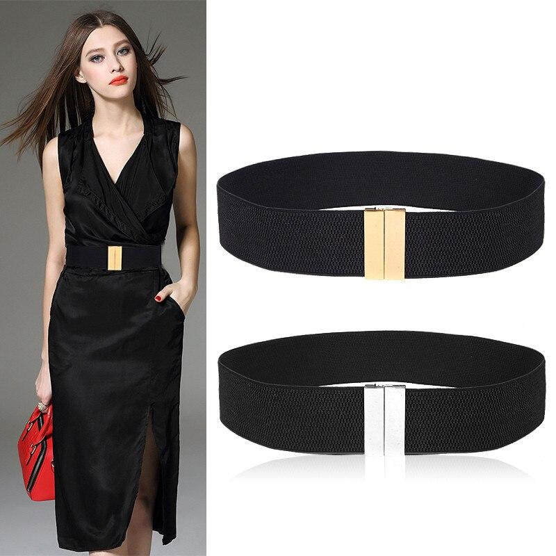 New Waistband HOT Women's Waistbands Elastic Wide Belt Gold Buckle Cummerbund Female Black Strap White Dress Decoration Gifts -8