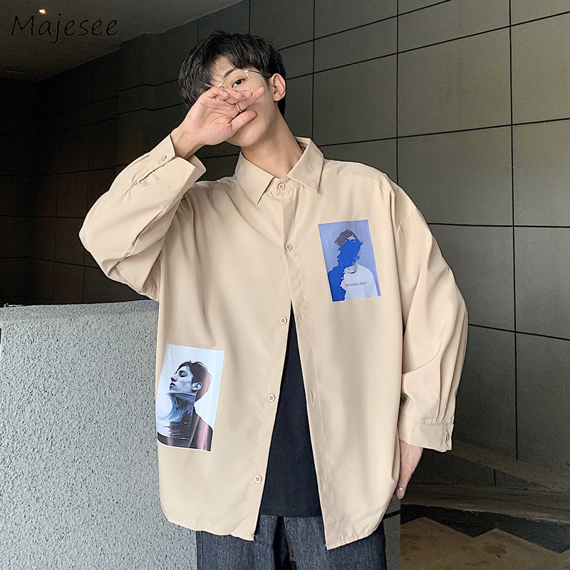 Men Shirts Printed Leisure BF Retro Korean Style Student All-match Loose Ins Harajuku Chic Trendy Daily Long Sleeve Ulzzang New