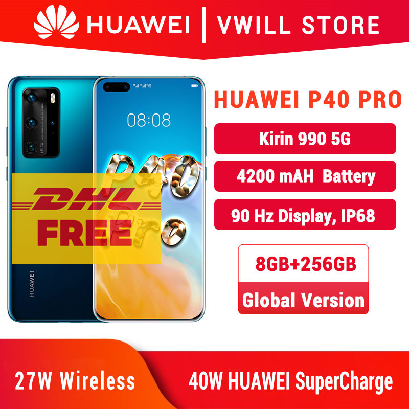 Global Versie Huawei P40 Pro 5G Mobilephone 6.58 Kirin 990 8Gb 256Gb Bluetooth 5.1 Gezicht Unlock gebaar Sensor Sa/Nsa Wifi 6