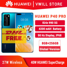 Versi Global Huawei P40 Pro 5G Ponsel 6.58 Inci Kirin 990 8GB 256GB Bluetooth 5.1 Face Unlock sensor Gerakan SA/NSA WiFi 6(China)
