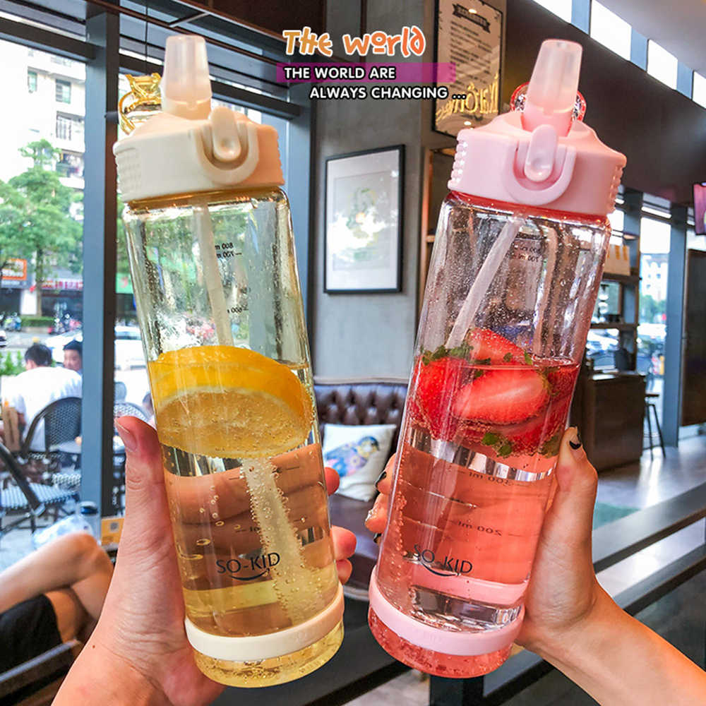 Student Water Cup Drinking Bottle with Straw Lid Boys and Girls Water Bottles