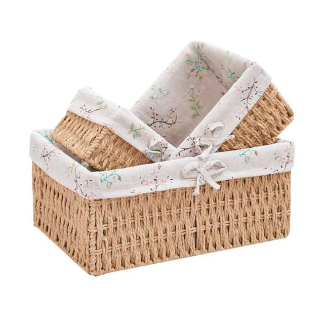 Online 3pcs Storage Basket Wicker