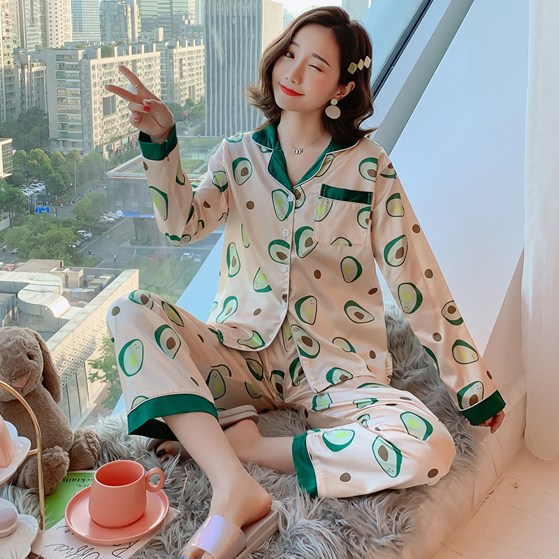 High Quality WAVMIT Women's Pajamas Sets Flower Print Luxury Female Faux Silk Sleepwear Set Two Pieces Shirts + Pant Nightshirt