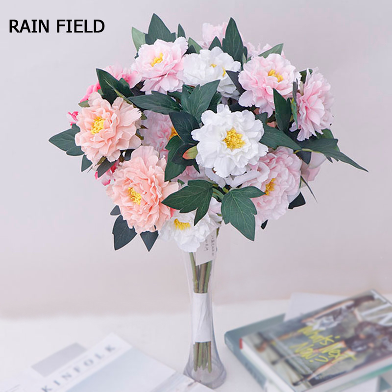 2 Heads Artificial Flowers Peony for Home Decoration Fake Flower Silk Peony Multi Style Garden Ornaments Wedding Plant in Artificial Dried Flowers from Home Garden