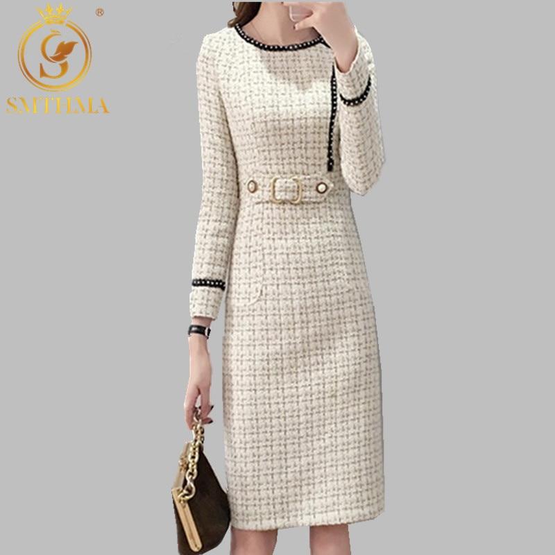 2019 New Tweed Dress Women Spring Vintage Wool Plaid Dresses Female Elegant Woolen Dress Ladies Office Vestidos 21