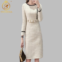 2019 New Tweed Dress Women Spring Vintage Wool Plaid Dresses Female Elegant Woolen Dress Ladies Office Vestidos