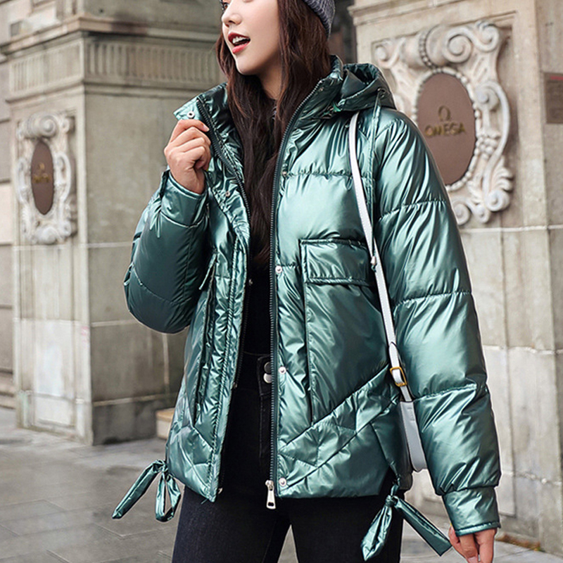 Hooded Coat Pocket-Jackets Female Warm Shiny Winter Women Styled Thicken Casual Solid