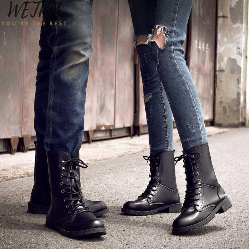 Nữ Nữ Nữ Người Phụ Nữ Mắt Cá Chân Giày Boots Mùa Đông Xuân Buộc Dây Giày Casual Đi Equestr Botas Mujer Plus Kích Thước 42