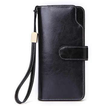 GROJITOO Oil wax cowhide women\'s wallet long Korean style women\'s handbag multi-card genuine wallet women\'s wallet handbag
