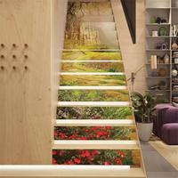 13pcs/lot 3D Stairs Stickers DIY Steps Sticker Renovation Wallpaper 18x100cm Waterproof Wall Stickers Portes Decoratives