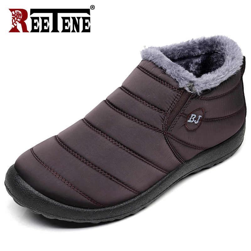 REETENE Pelz Männer Stiefel Männer Winter Schuhe Einfarbig Schnee Stiefel Plüsch Antiskid Unten Warm Halten Wasserdichte Ski Stiefel Größe 37-46