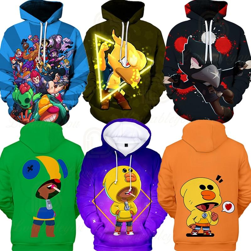 Brawling Boys Girls 3D PRIMO MORTIS Thin Hoodie Crow Spike Leon Shelly Hoodie Kids Game Anime Star Hoodie Birthday Gift