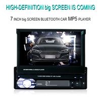 Car Stereo receiver 2din Audio Bluetooth Radio with 7 HD Retractable Touch Screen Monitor MP5 Player SD FM USB Rear View Camera