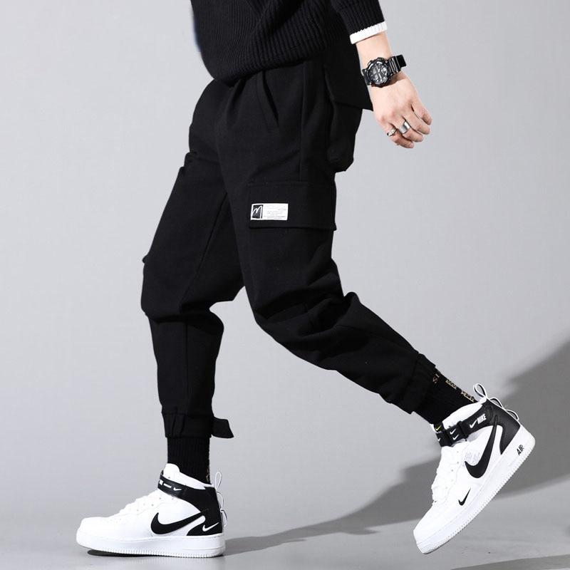 Mens Cargo Pants Hip Hop Pockets Pants Streetwear Casual Men Pants Black Gray Clothes 2019 New Spring Autumn Loose Trousers
