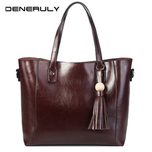 Tassel Big Genuine Leather For Ladies Soft Real Handbags Women Fashion High Capacity Totes Bag Luxury Brand Female
