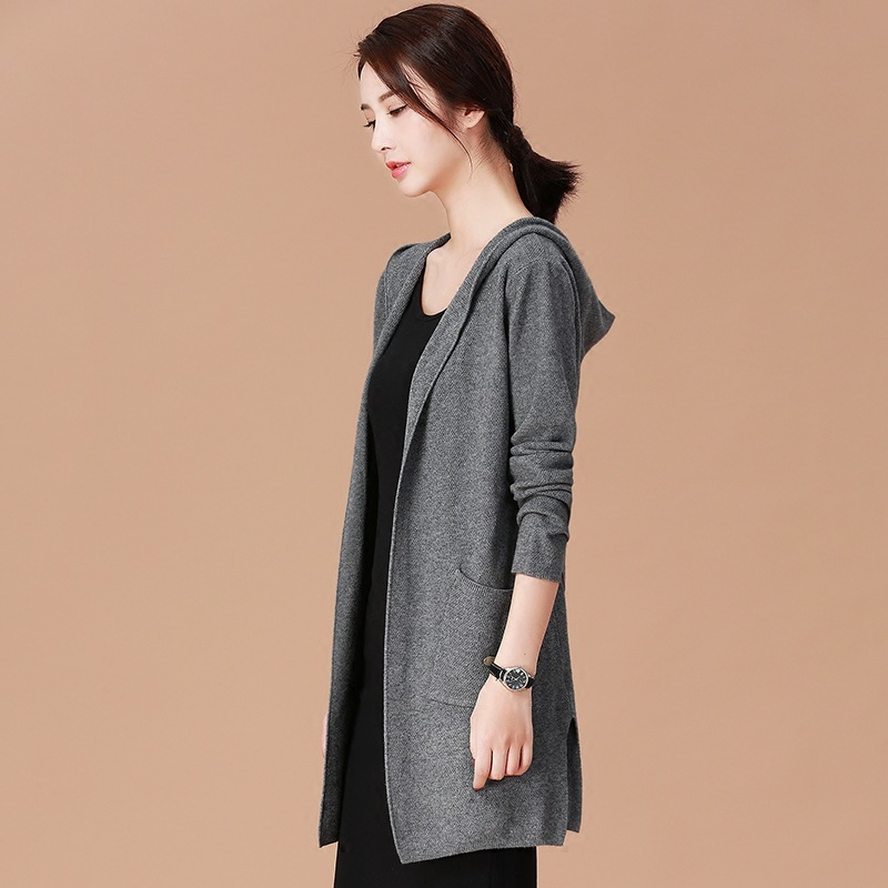 2020 New Women Cardigans Autumn Spring Hooded Knitting Casual Sweater Female Cardigan Long Windbreaker Outwear LX1562