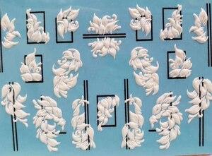 Image 5 - 3D חדש אקריליק חריטה מדבקת שחור קו לבן ורוד פרח עיצוב מים Empaistic נייל מגלשת מים מדבקות Z0209