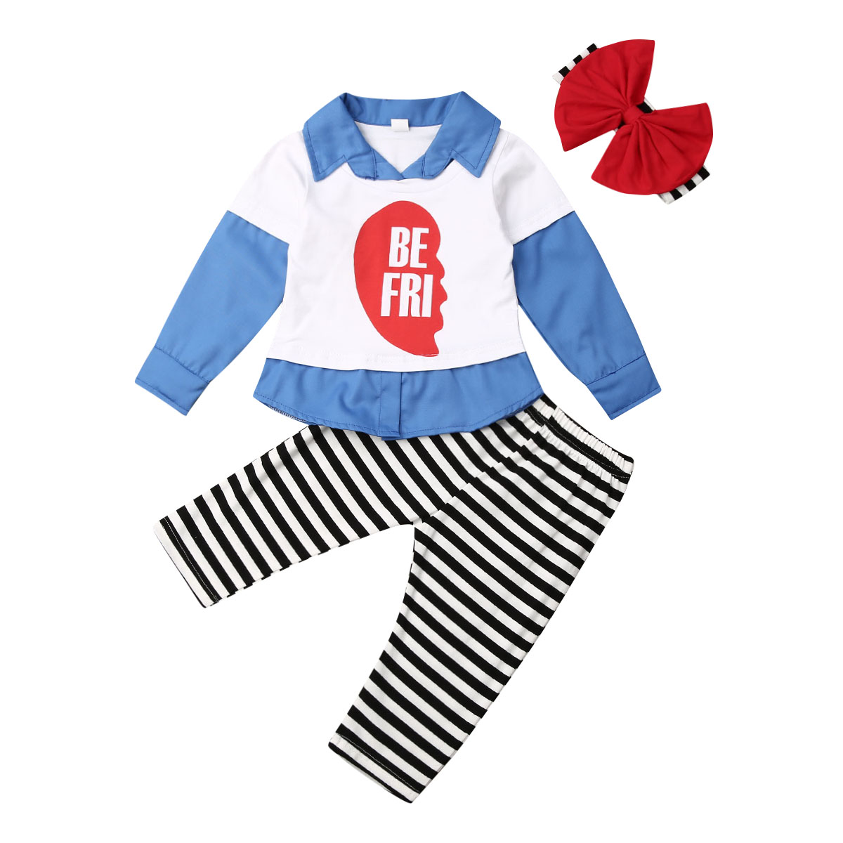 2019 brand new Toddler Baby Girl <font><b>Kid</b></font> <font><b>BEST</b></font> <font><b>FRIEND</b></font> Matching Outfits 3pcs Clothes <font><b>Shirt</b></font> Top Pants image