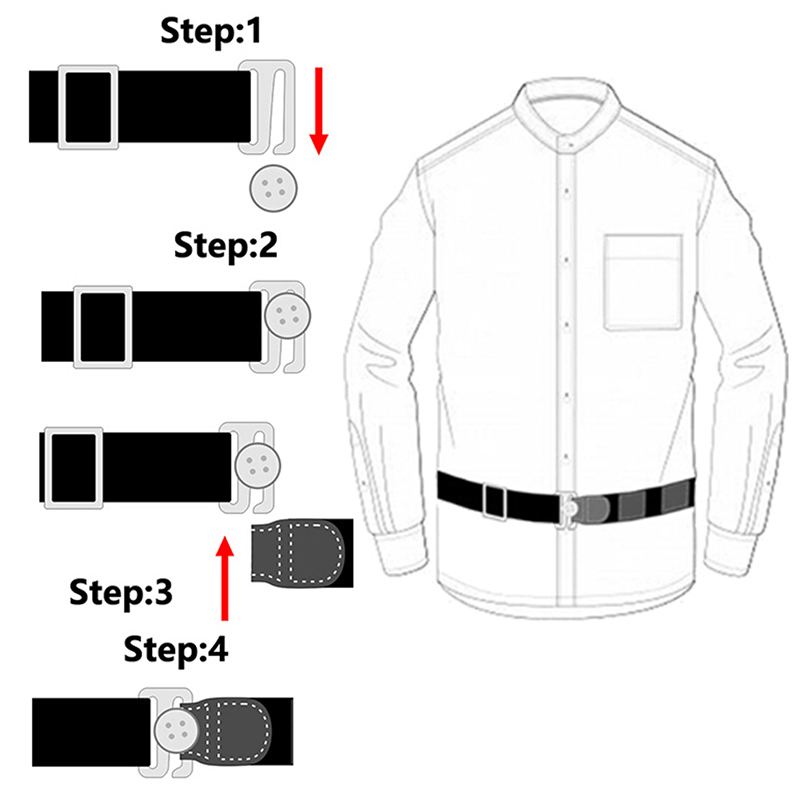 Two Belts AvailableEasy Shirt Stay Adjustable Belt Non-slip Wrinkle-Proof Shirt Holder Straps Locking Belt Holder
