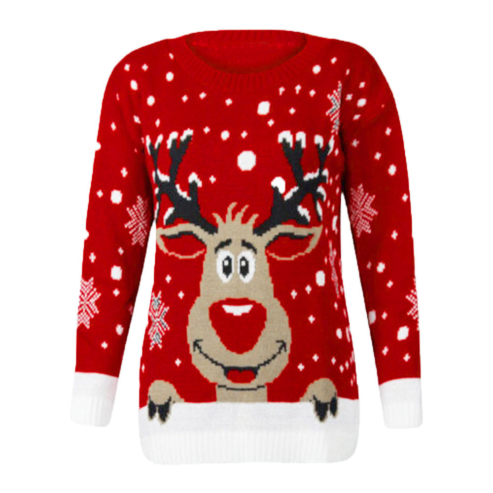 New Design Winter Warm Womens Christmas Reindeer Printed O-Neck Long Sleeve Tops Fashion Ladies Sweater