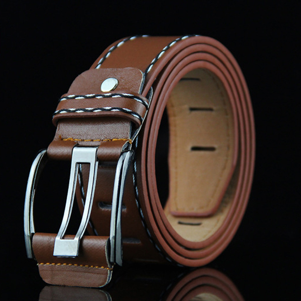 Fashion New Men Leather Smooth Girdle Buckle Waistband Waistband Leisure Belts Strap Leisure Belt Strap Men's Belt Multi-colored
