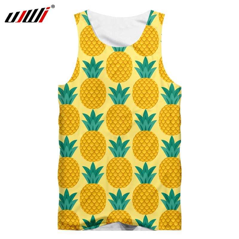 UJWI Tank Yop Man Fashion 3D podkoszulki z nadrukiem żółty ananas straszny Plus rozmiar strój dla mężczyzn letnia koszulka bez rękawów