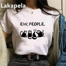 Camiseta divertida con estampado de gatos para mujer, remera estampada Harajuku Hipster, camisetas holgadas de talla grande