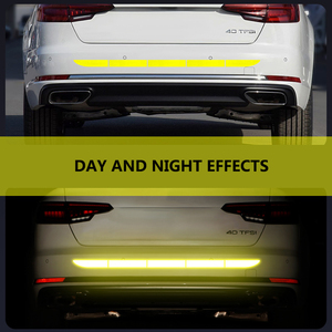 Image 3 - Car Sticker Reflective Warning Safety Tape Film Auto Strip Decoration Bumper Reflection Anti Collision Stickers Car Accessories