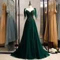 Новое Вечернее кружевное зеленое платье с сексуальным v-образным вырезом, без рукавов, трапециевидной формы полу-Длина, украшенные кристалл...