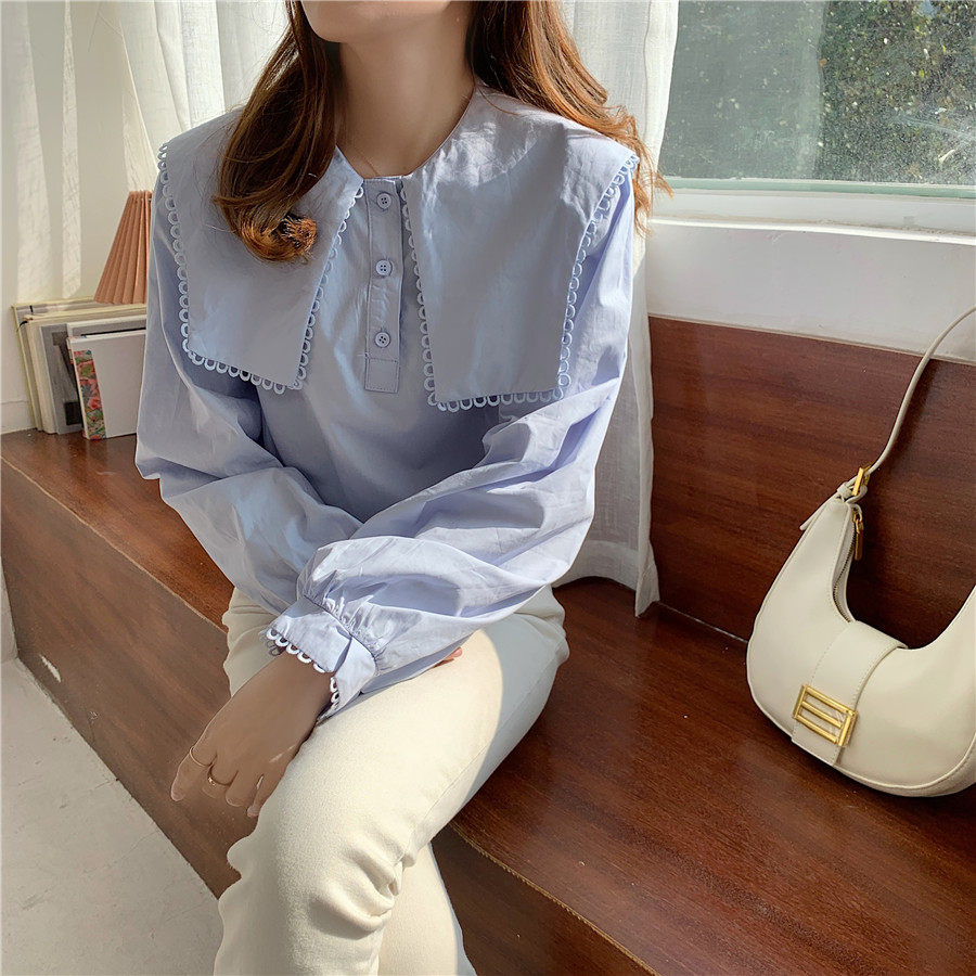 H8444ca91f0e249d69c4dea76580b5f09s - Spring / Autumn Puritan collar Long Sleeves Solid Blouse