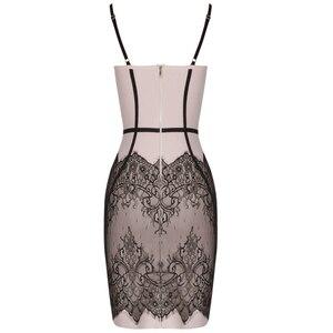 Image 5 - Ocstrade été robes de pansement 2019 nouveau Spaghetti sangle noir dentelle robe moulante Club soirée robe de soirée pour les femmes
