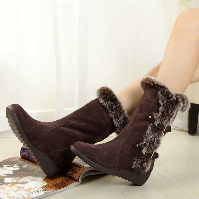 ผู้หญิงฤดูหนาวรองเท้า FLOCK ฤดูหนาวรองเท้าแฟชั่นสุภาพสตรีรองเท้าบู๊ตหิมะรองเท้าต้นขาสูง Suede กลางลูกวัวรองเท้าบูท