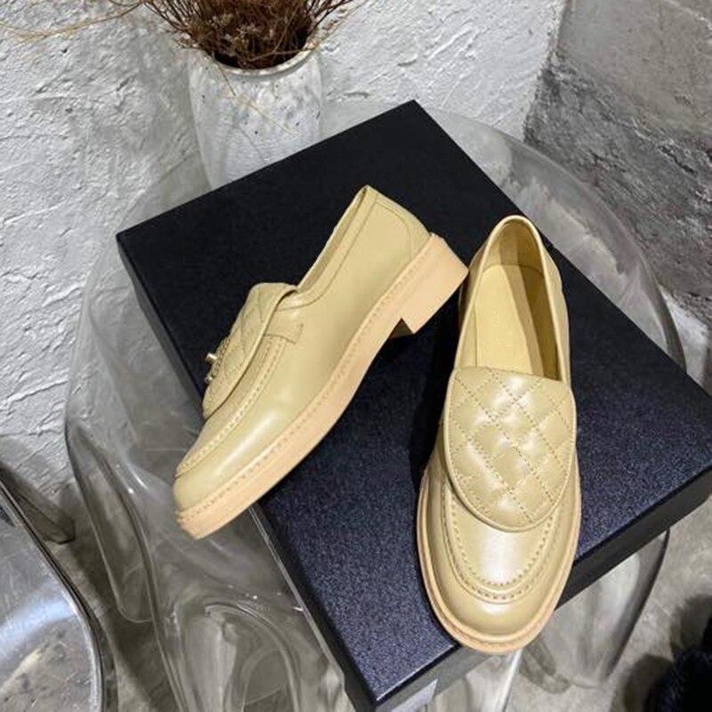 deslizamento-em sapatos femininos moda couro mocassins sapatos casuais femininos