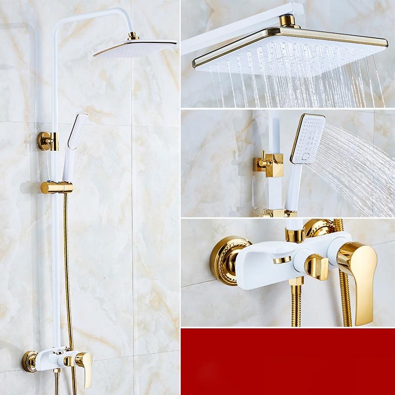 H8444ffe81dee402ca365a102bec563ceo Shower Set SDSN White Gold Bathroom Shower System Quality Copper Brass Bathtub Faucet Rainfall Shower Head Spa Bath Shower Sets