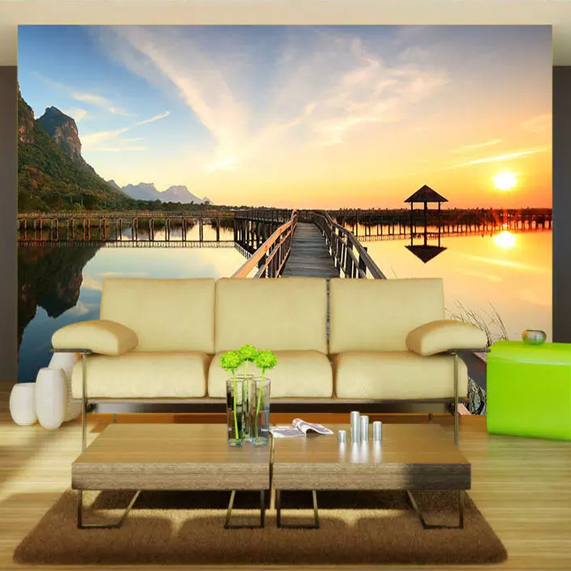 sofa sunset landscape living murals seaside wharf wishlist