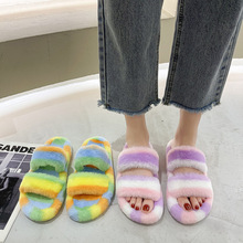 Winter Womens Sandals Fluffy Slippers Warm Slippers Comfortable Women's Thick Soles Fashion Shoes Women Flip-flop Flat Slippers