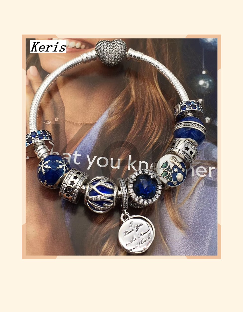 High Quality Reproduction 1:1 100%925 Pure Silver New Hanging Tag Pattern Beads String Bracelet Free Of Charge