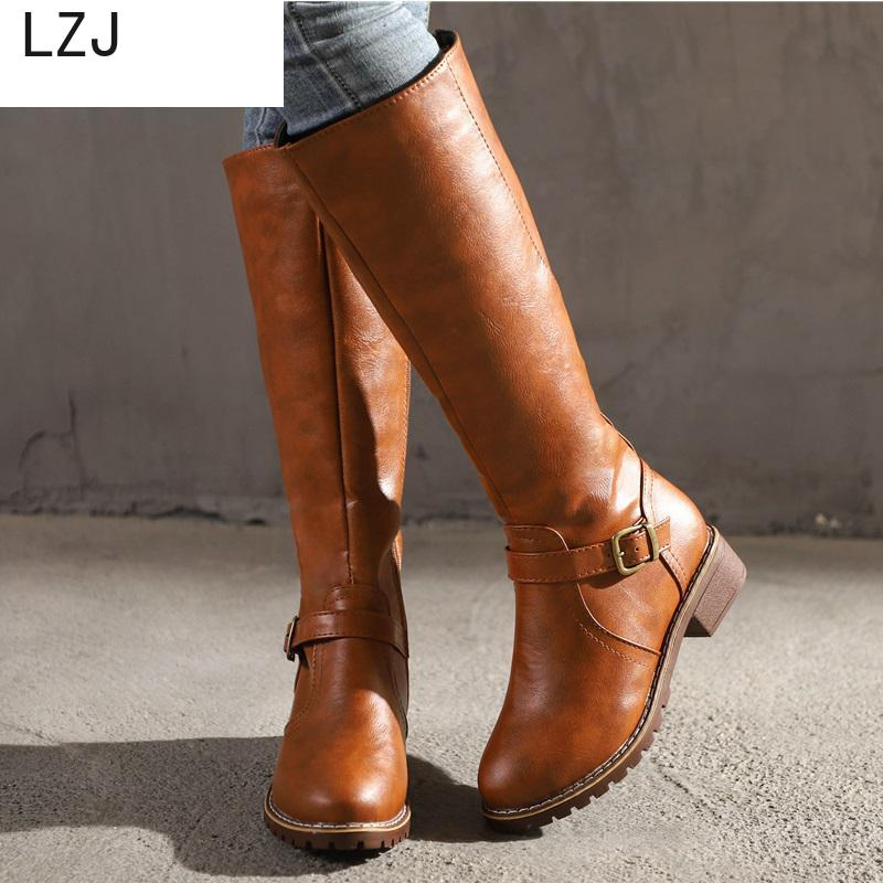 LZJ HOT New Arrival Riding Boots Square Med Heel Fur Platform Winter Knee High Boots Women Motorcycle Boots Work Boots