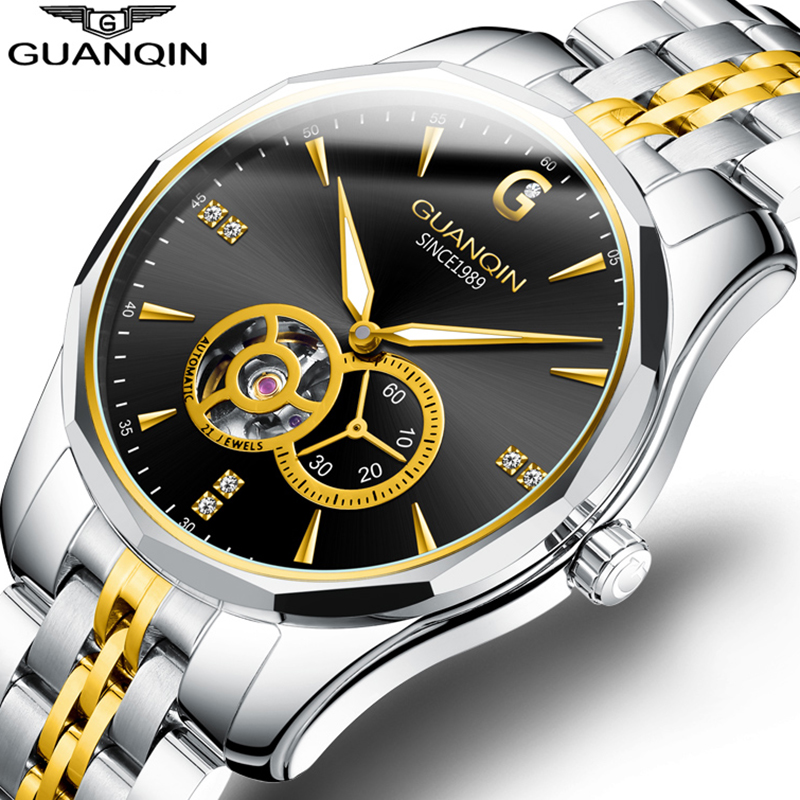 GUANQIN Brand Luxury Business Watch Men Automatic Japan Watch Men Tungsten Steel Waterproof Sport Mechanical Relogio Masculino