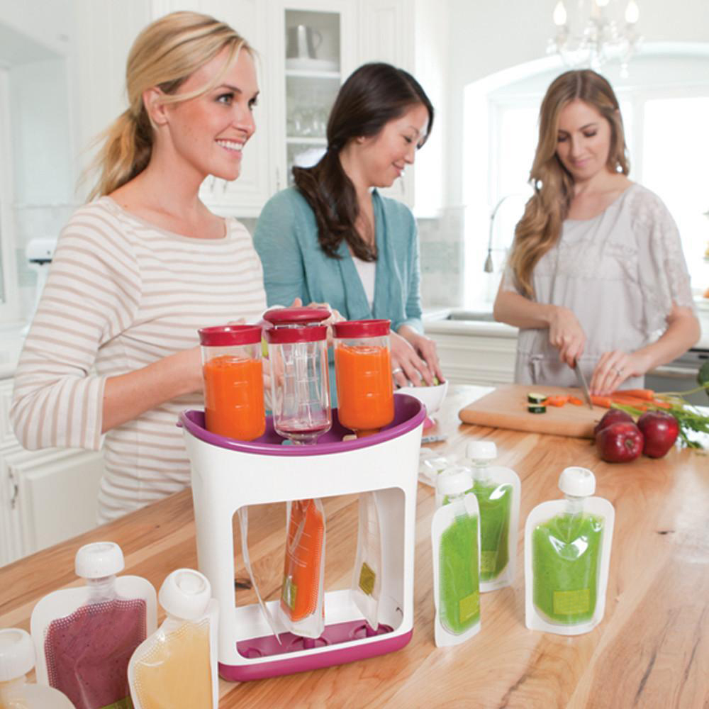 Baby Food Maker Infant Feeding Containers Storage Food Squeeze Station Baby Fruit Puree Packing Machine Toddler Solid Juice Make
