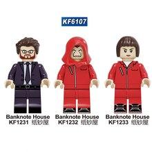 KF6107 10 Pcs Set Suspense Movie Banknote House Money Heist Killer John Wick Figures Building Blocks For Children Toys Learning