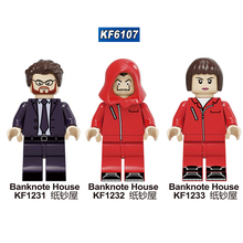KF6107 Single Sale Suspense Movie Banknote House Money Heist Killer John Wick Figures Building Blocks For Children Toys Learning