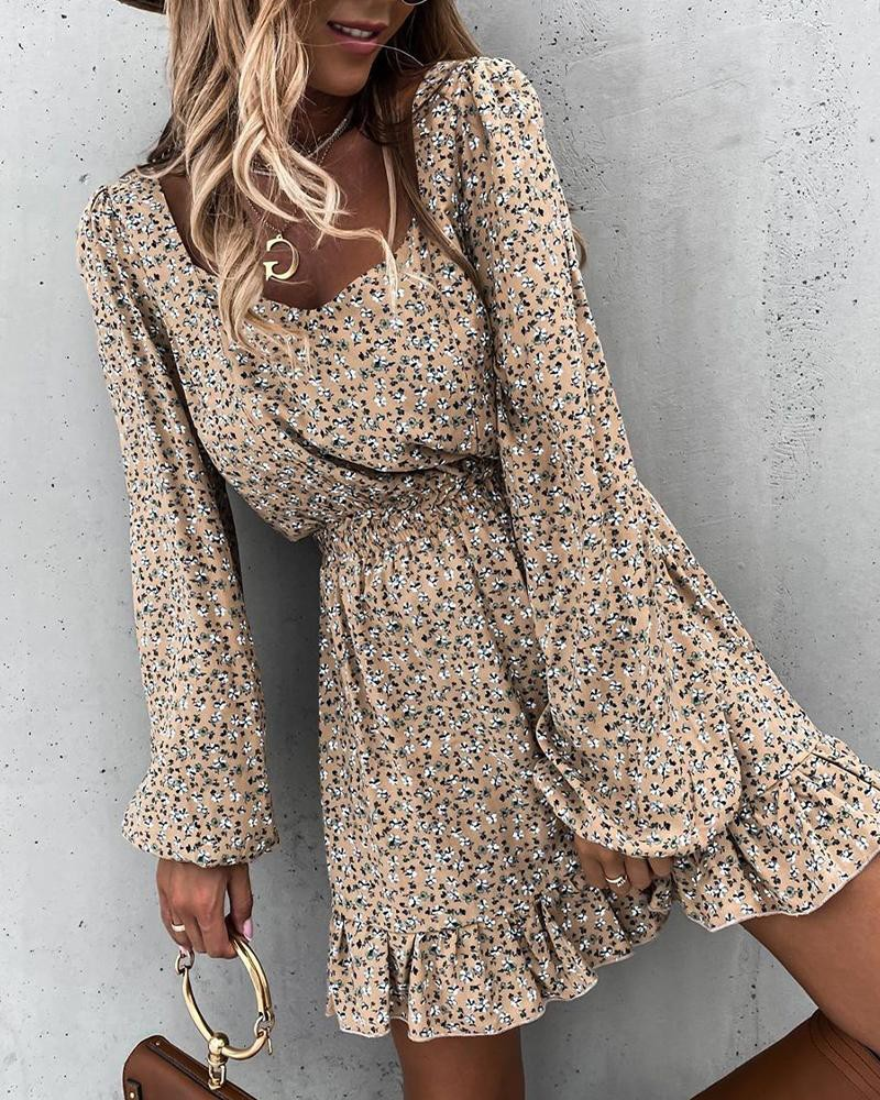 Apring And Summer Fashion Women's Mini Dresses With Square Collar And Elastic Waist Ruffle Print Sweet Style Hedging Dress 2021